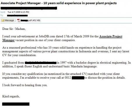 Contoh Lamaran Kerja Email Bahasa Inggris